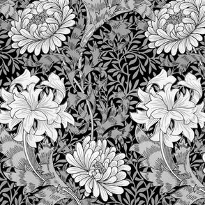William Morris ~ Chrysanthemum ~  Black and White on Black