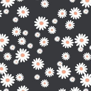 Summer day daisies minimal abstract Scandinavian boho style nursery girls cool charcoal