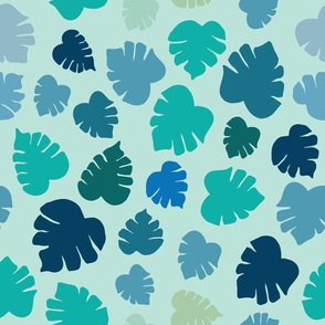 Boy blue/ Green Monstera Tossed print