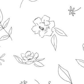 Floral Outlines (BandW) - L
