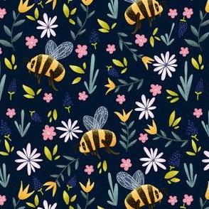 Bumblebees in Spring - Dark Pattern