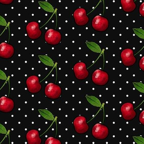 Juicy Red Cherries, Black & Polka Dots, Large