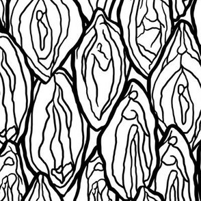 Vagina Fabric White, black outlines, Large