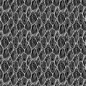 Vagina Fabric Black, white outlines, Small