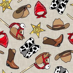 Cowboy - western -  cow print vest & horse on a stick - beige - LAD20