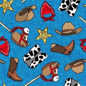 Cowboy - western -  cow print vest & horse on a stick - blue - LAD20