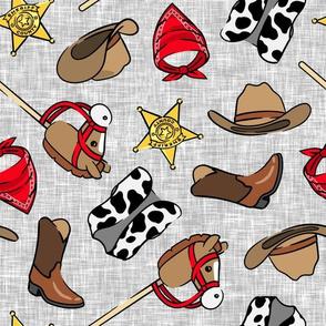 Cowboy - western -  cow print vest & horse on a stick - grey - LAD20