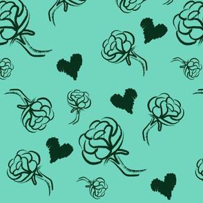 Black Roses on Aqua