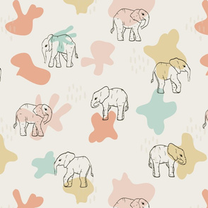 Forest Elephants on white seamless pattern background.