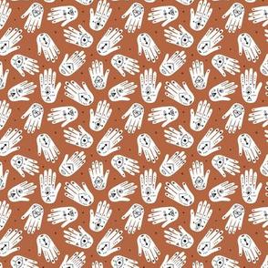 Cool aztec oriental hamsa hand of fatima indian summer hands copper bronze SMALL