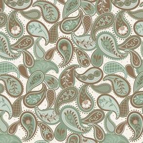 May Paisley: Green & Chestnut Modern Paisley Design, Powdery Green Paisley