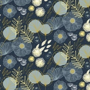 Small Spring Floral M+M Navy Black by Friztin