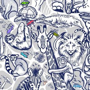 Kids Safari Adventure Small | Navy + Light Gray