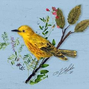 Yellow Warbler and Midsummer Vines - Lt Blue Rustic