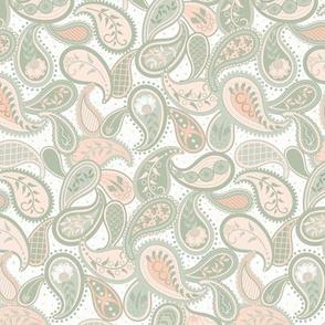 May Paisley: Peach & Sage Modern Paisley, Blushing Peach