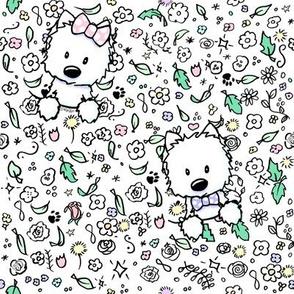 KiniArt Westie Floral Doodles