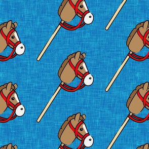 horses on a stick - children's western cowboy & cowgirl (blue 2) - LAD20