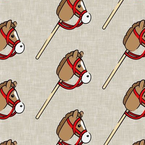 horses on a stick - children's western cowboy & cowgirl (beige) - LAD20