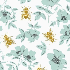 Teal & Yellow Bee Floral - Large