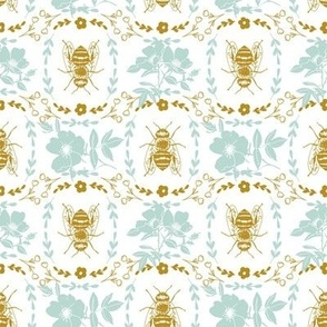 Mustard Yellow and Teal Bee Cameo - Small