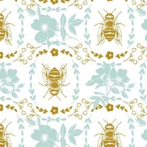 Mustard Yellow and Teal Bee Cameo - Large