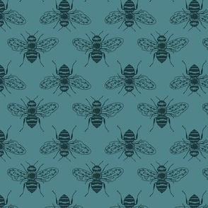 Bee Silhouettes on Dark Teal