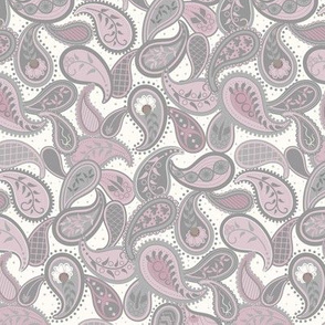 May Paisley: Mulberry & Gray Modern Paisley, Dusty Magenta Paisley