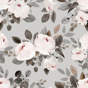 Neutral Watercolor Rose Floral on Gray - Medium