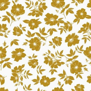 Mustard Yellow Wild Rose Floral - Small