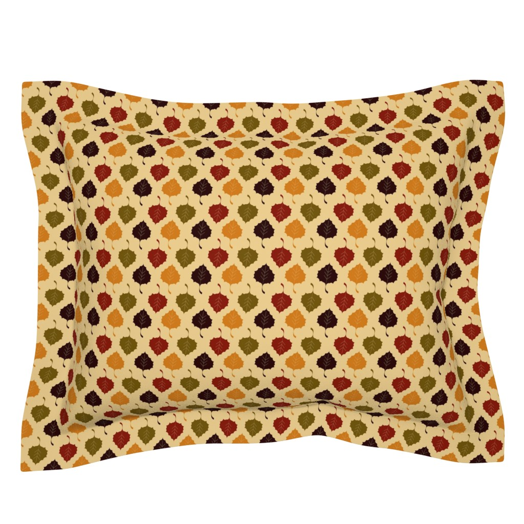 Sebright Pillow Sham featuring Leaves, Multi - Harvest Collection by natalie