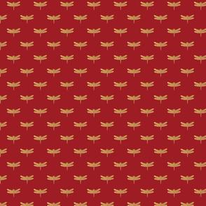 Dragonflies on Scottish Fraser Tartan Scarlet Red