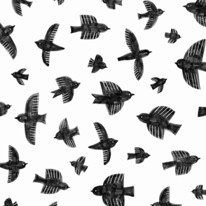 Painted birds with markers - black - large scale