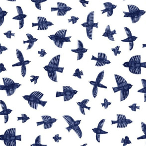 Painted birds with markers - Delft blue - small scale