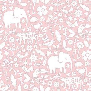 line art safari pink