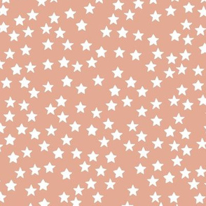 Little sparkly stars romantic boho night basic sky design nursery neutral warm coral apricot white MEDIUM