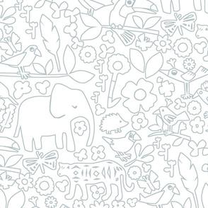 line art jungle safari doodle wall grey