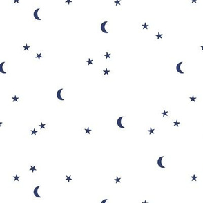Dreamy night boho moon print counting stars under the moon winter night navy blue on white