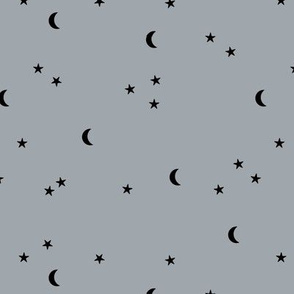 Dreamy night boho moon print counting stars under the moon winter night cool gray