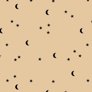 Dreamy night boho moon print counting stars under the moon winter night soft honey yellow