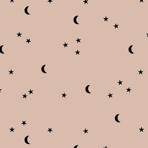 Dreamy night boho moon print counting stars under the moon winter night soft latte beige