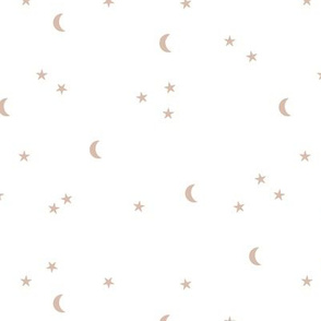 Dreamy night boho moon print counting stars under the moon winter night soft latte beige on white