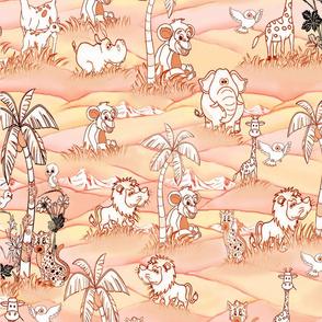 African pink sundowner line-drawing story