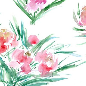 Pink peonies for princess ★ watercolor flowers for modern home decor, bedding, nursery