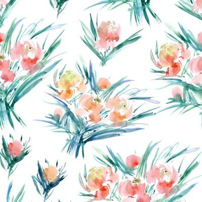 Peonies for princess ★ watercolor florals for modern home decor, bedding, nursery