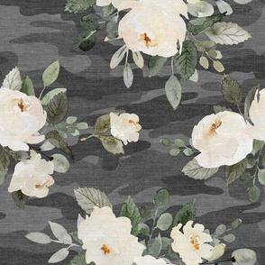 Floral Camo - Flowers & Camouflage - Dark Gray - Medium