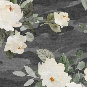 Floral Camo - Flowers & Camouflage - Dark Gray - Large