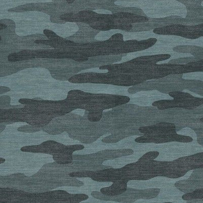 Teal Camouflage - Textured Distressed Camo