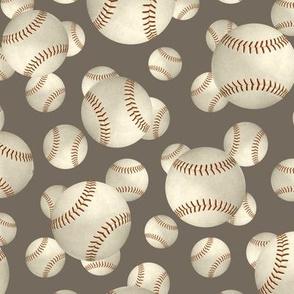 baseballs sports pattern on slate blue