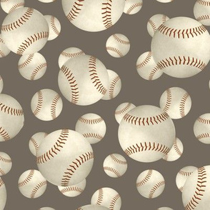 Grungy baseballs sports pattern on stone brown
