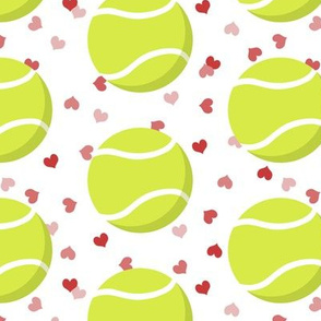 simple tennis balls sports pattern with pink and red hearts